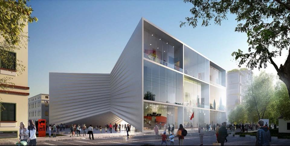 Un rendering del nuovo progetto per il Teatro nazionale di Tirana