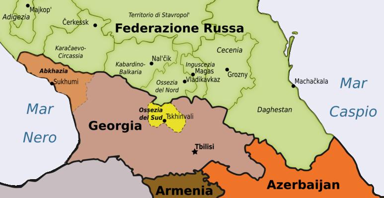 Ossezia del Sud (in giallo) - Mappa di Osservatorio Balcani e Caucaso