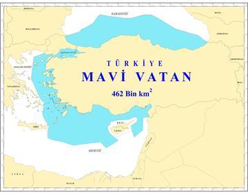"""Una mappa che rappresenta la politica turca della cosiddetta """"Patria Blu"""" (Cihat Yaycı, Wikimedia -  CC BY-SA 4.0)"""