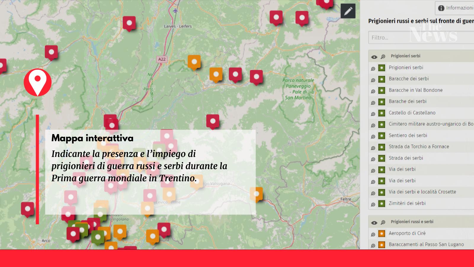 mappa prigionieri serbi e russi in Trentino nella Prima Guerra mondiale
