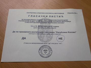 Scheda elettorale del referendum nel nord Kosovo