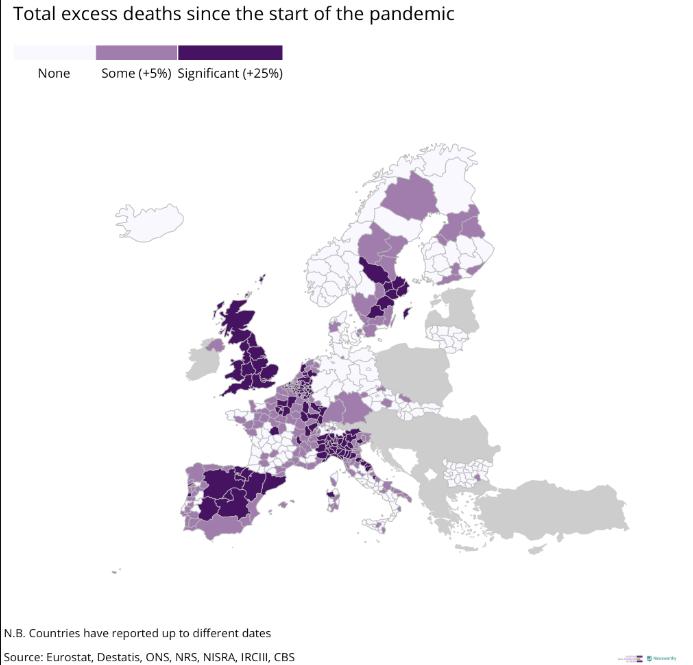 mappa delle morti in eccesso in Europa