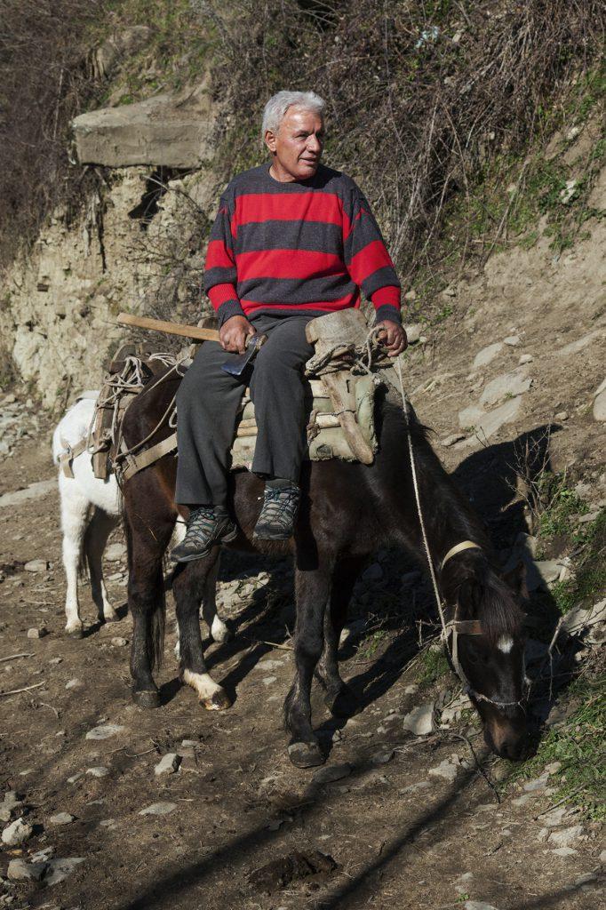 Shahin Mehmeti on his mule
