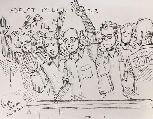 Drawings made by Tarık Tolunay during the trial against Cumhuryet © Tarık Tolunay