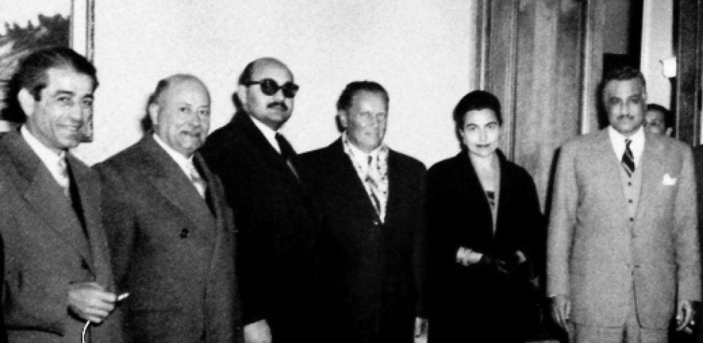 Tito ad Aleppo nel 1959, con la moglie Jovanka e altri leader del Movimento dei non allineati - Wikimedia