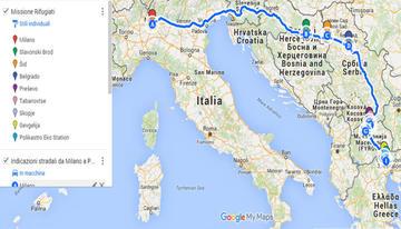 Itinerario del viaggio di Ipsia e Caritas