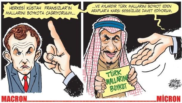 MACRON……MICRON – Chiedo a tutti di boicottare i prodotti degli insolenti francesi… e vi invito a non esprimervi contro gli arabi che da mesi boicottano i prodotti turchi.