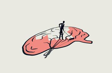 A human figure mopping a brain - © MJgraphics/Shutterstock