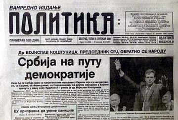 La pagina del quotidiano Politika del 6 ottobre 2000