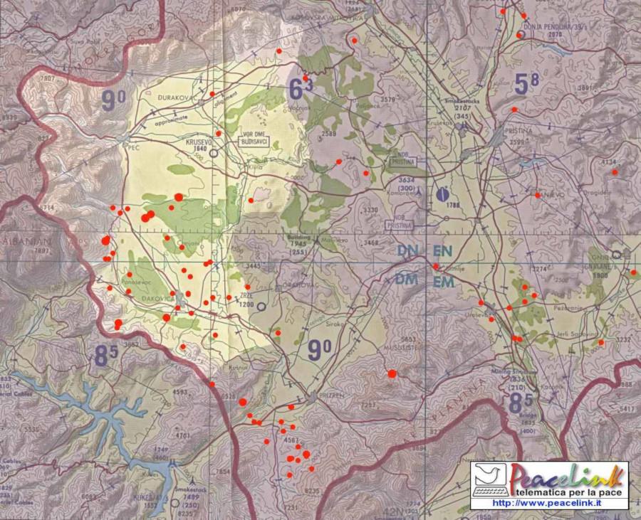 Kosovo, mappa siti bombardamenti con DU - Peacelink